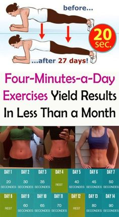 Workout Plan Four-Minutes-a-Day Exercises Yield Results In Less Than a Month - Fashion Is My Petition Fitness Diet, Yoga Fitness, Fitness Motivation, Health Fitness, Health Diet, Men Health, Fitness Plan, Workout Diet Plan, Butt Workout