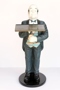 Connisseur Waiter Statue With Tray Restaurant Catering