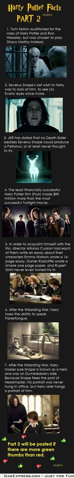 Harry Potter Facts Part 2 - Especially love the one about how Harry Potter movies were WAY more successful than Twilight.