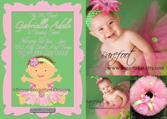 Lovely Little Baby Bug Tutu Themed Invitation by Never Forgotten Design to match custom boutique dress by Tiaras Tutus! This invitation can be created to compliment any dress design for your little princess on her special birthday and her own special looks!