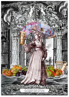 Queen of Cups - Arthur Taussig Collage Tarot