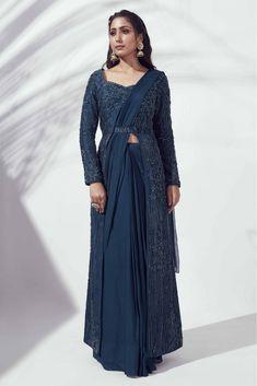 Navy Blue Color, Teal, Drape Sarees, Pleated Maxi, Crepe Fabric, Looking Stunning, Bridal Dresses, Saree Jewellery, Stylish