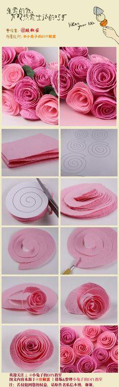 rosas de crespón a partir de un espiral: