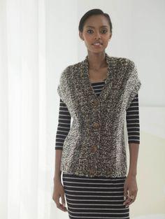 Free Knitting Pattern Lion Brand® Country® Side To Side Sleeveless Cardi Vest Pattern, Free Pattern, Knitting Patterns Free, Knit Patterns, Knit Vest, Knit Poncho, Crochet Cardigan, Arm Knitting, Crochet Yarn