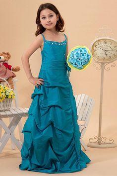 Robe de cortège enfant romantique de mode de bal ornée en taffetas bretelles spaghetti