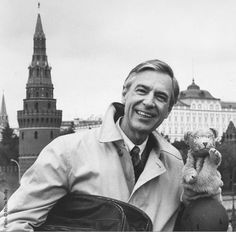 Mr. Rogers in gray scale.