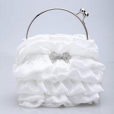 Satin With Crystal Evening Bag Handbag Purse Clutch