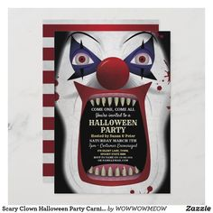 Halloween Clown, Halloween Images, Halloween Cards, Halloween Themes, Scary Carnival, Haunted Carnival, Halloween Costume Party Invitations, Scary Clowns, Invitation Cards