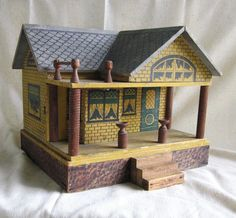 Converse Antique Doll House Vintage Stenciled Wood Cottage