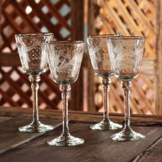 Decorate your table with 'Crystal Flowers,' Handcrafted Handblown Glass Etched #Wine Glasses.