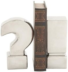 "Bayden Hill Ceramic Silver Finish Bookend Pr 3""W, 8"""