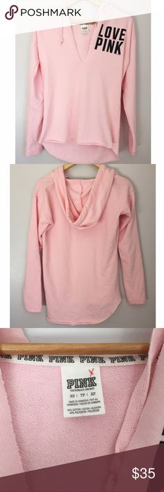 "Victoria's Secret PINK Light Pink V-neck Hoodie VS PINK brand hoodie. Light pink with black graphic ""LOVE PINK"" over left chest. Raw edge deep V cut and raw edge bottom hem. Back hem is slightly longer than front. Size XS, but slightly oversized. Super comfy and in excellent - like new condition. I'm happy to answer any questions you may have! PINK Victoria's Secret Tops Sweatshirts & Hoodies"