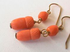 Antique 9k Gold Coral ACORN Earrings