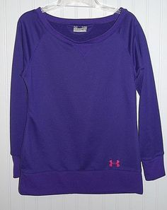 Under Armour Women's XS Semi Fitted All Season Gear Sweatshirt Purple L/S…
