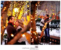 I need snow, photographer, an urban setting with Christmas lights, and stuff for a Christmas Card picture.
