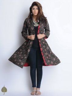 Buy Black Red Grey Natural Dyed Bagru Printed Button Down Cotton Dress/Jacket by… Indian Attire, Indian Wear, Kurta Designs, Blouse Designs, Indian Dresses, Indian Outfits, Western Dresses, Ethnic Fashion, Indian Fashion