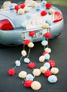 Pom ball decor for getaway car