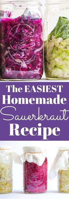The easiest homemade sauerkraut recipe in a mason jar. No special equipment needed. Whole Food Recipes, Vegetarian Recipes, Dinner Recipes, Healthy Recipes, Zone Recipes, Jar Recipes, Canning Recipes, Delicious Recipes, Sauerkraut