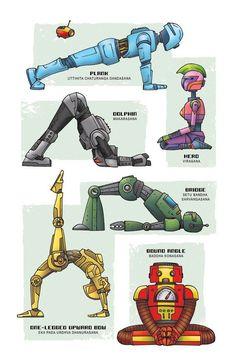 """Robot Yoga"" art print by Rob Osborne. From the artist behind Star Wars Yoga comes the Yoga Super Pop Collection! Kids Yoga Poses, Yoga For Kids, Namaste Yoga, Yoga Meditation, Bow Legged Correction, Relaxing Yoga, Yoga Positions, Yoga Art, Best Yoga"