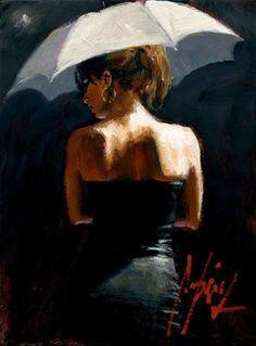 """Woman with White Umbrella III"" by Fabian Perez"
