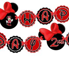 free minnie mouse birthday printables | Minnie Mouse Happy Birthday Banner - Minnie Mouse Red And Black Zebra ...