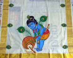Folk Embroidery Tutorial 36 D. Kerala Mural Painting, Krishna Painting, Madhubani Painting, Krishna Drawing, Saree Painting Designs, Fabric Paint Designs, Folk Embroidery, Learn Embroidery, Embroidery Patterns