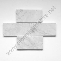 "3"" x 6"" Bianco White Carrara Marble Subway Tile Honed"