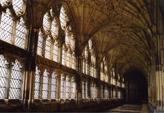 Gloucester Cathedral,UK. Here was the inside scenes of Hogwarts shoot in the Harry Potter movies!