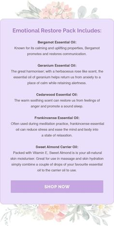 Balancing, restorative and uplifting, the beautiful kit includes the top pure essential oils to calm a restless mind, restore emotions and uplift mood. Perfect to use in times of stress, hormonal changes or emotional support. #ad #essentialoils #emotionalwellbeing
