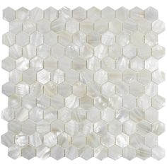 shower niche background White Hexagon Pearl Shell Tile - Subway Tile Outlet