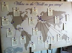 """Where in the world are you sitting"" creative map wedding seating chart by www.spoonfulofsugarinvites.com"