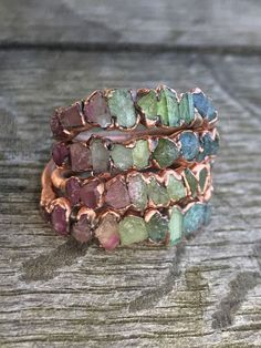 Watermelon tourmaline copperring / Stacking ring / Tourmaline ring / Bridesmaids gift / Raw gemstone ring / Gift for her / wife / Engagement ring $63.70
