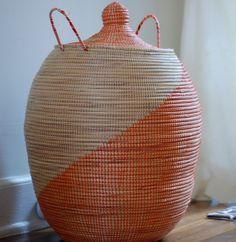 Vintage Handmade Orange Indian basket  $115