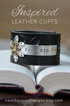 Walk in faith premium leather cuff bracelet by LoveSquaredDesigns