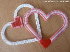 Valentine's Day heart frames made from Hama or Perler beads