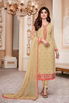 Beguiling Georgette Cream Color Function Wear Designer Salwar Suit