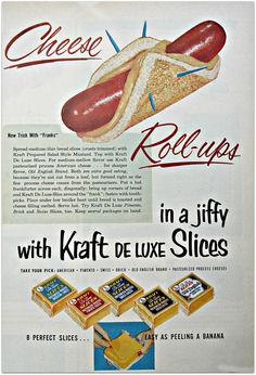 Vintage Kraft advertisement with recipe for Cheese Roll-ups
