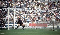 World Cup Quarter-Final, 1970, Leon, Mexico, England 2 v West Germany 3, 14th June, 1970, England's Geoff Hurst scores the game's only goal past romanian goalkeeper Stere Adamche