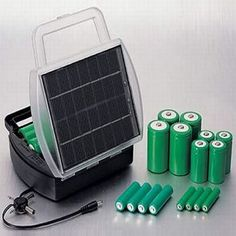 """A solar battery charger, also known simply as a """"solar charger"""", is a great way to supply energy for many devices. This is true whether you're at home, on a camping trip or have gone off the grid. Solar Battery Charger, Solar Panel Charger, Solar Panel Battery, 12 Volt Solar Panels, Solar Panel Kits, Solar Power Batteries, Solar Power System, Apocalypse, Solar Car"""