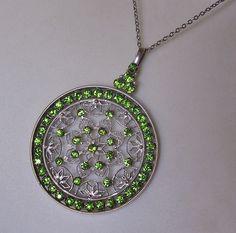 Beautiful Art Nouveau Peridot Green Rhinestone Pendant Necklace
