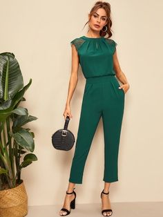 Check out this Contrast Lace Cuff Pleated Jumpsuit on Shein and explore more to meet your fashion needs! Pleated Jumpsuit, Striped Jumpsuit, Silvester Outfit, Vintage Outfits, Designer Jumpsuits, Lace Cuffs, Pleated Fabric, Elegantes Outfit, Overall