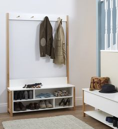 Northgate Settler Bench at STORE. Scandi-looking white solid wood Northgate Settler storage bench with storage cubbies fo...