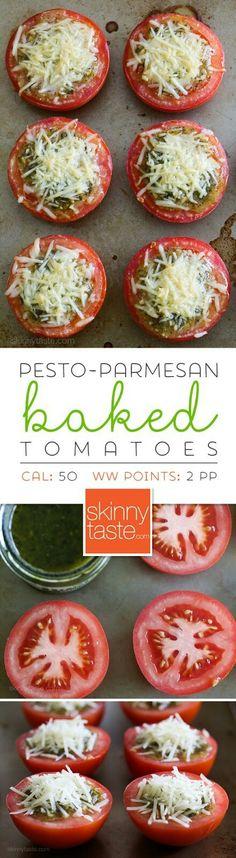 Pesto Parmesan Baked Tomatoes
