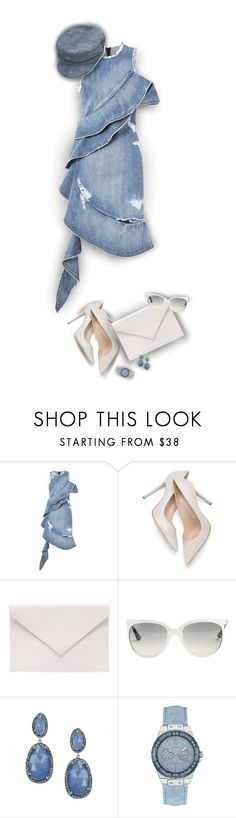 """""""Denim Dress!"""" by asia-12 ❤ liked on Polyvore featuring Jonathan Simkhai, Verali, Ray-Ban, GUESS and Manokhi"""