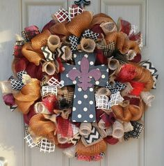 Rich copper and burgandy tones in this cross wreath by CheckeredDaisy on Etsy $94.99