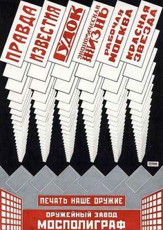 """Alexander Rodchenko The Press is Our Weapon, 1923, litografia, Demostra uma clara influência dos kiosks de Klutsis, adaptando a formalidade do design para a imagem em papel. (Livro) """"The 20th-Century Poster Design of the Avant-Garde"""""""