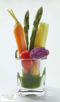 The perfect mini appetizer- crudites shots! These can be made with a wide variety of dipping sauces and are not only  delicious hors d'oeuvres but such a cool presentation!