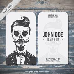 esqueleto do vintage cartão de barbeiro