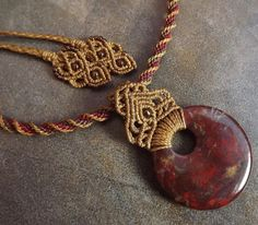 Macrame Necklace Poppy Jasper Necklace Kumihimo by neferknots