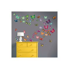 Butterflies with Swarovski Crystal Accents Wall Art Decal (145 BRL) ❤ liked on Polyvore featuring home, home decor, wall art, butterfly wall stickers, animal wall decals, animal decals, butterfly wall decals and butterfly home decor